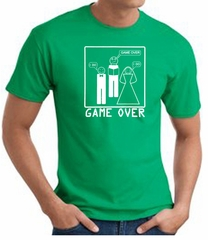 Game Over Marriage Ceremony T-shirt Funny Kelly Green Tee White Print