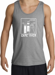 Game Over Marriage Ceremony Tanktop Funny Sport Grey Tank White Print