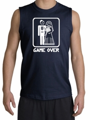 Game Over Muscle Shirt Funny Marriage Navy Shooter - White Print