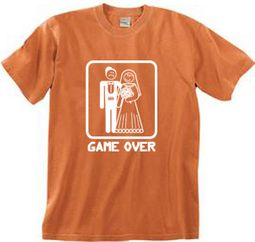 Game Over Pigment Dyed T-shirt Funny Burnt Orange Tee - White Print