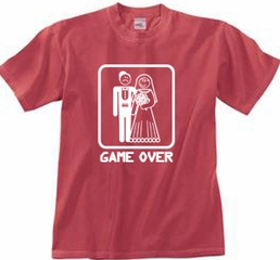 Game Over Pigment Dyed T-shirt Funny Dashing Red Tee - White Print
