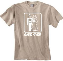 Game Over Pigment Dyed T-shirt Funny Marriage Sandstone - White Print