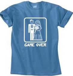 Game Over Pigment Dyed T-shirt Funny Medium Blue Tee - White Print