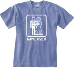 Game Over Pigment Dyed T-shirt Funny Night Blue Tee - White Print