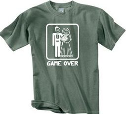 Game Over Pigment Dyed T-shirt Funny Olive Tee - White Print