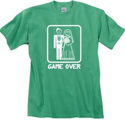 Game Over Pigment Dyed T-shirt Funny Piper Green Tee - White Print