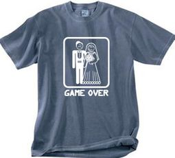 Game Over Pigment Dyed T-shirt Funny Scotland Blue Tee - White Print