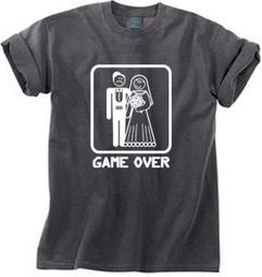 Game Over Pigment Dyed T-shirt Funny Smoke Tee - White Print