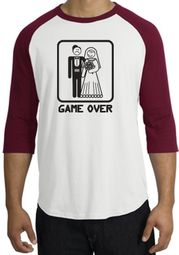 Game Over Raglan Shirt Funny Marriage White/Cardinal - Black Print