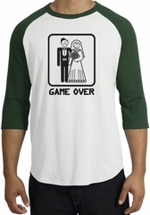 Game Over Raglan Shirt Funny Marriage White/Forest - Black Print