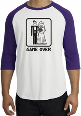 Game Over Raglan Shirt Funny Marriage White/Purple - Black Print