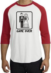 Game Over Raglan Shirt Funny Marriage White/Red - Black Print