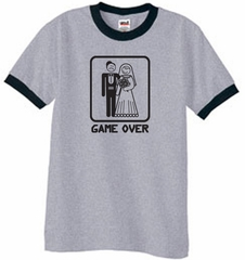 Game Over Ringer T-shirt Funny Heather Grey Black Tee Black Print