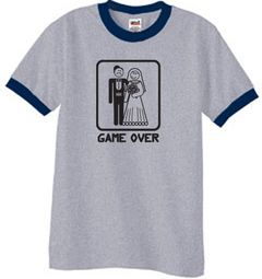 Game Over Ringer T-shirt Funny Heather Grey/Navy Tee - Black Print