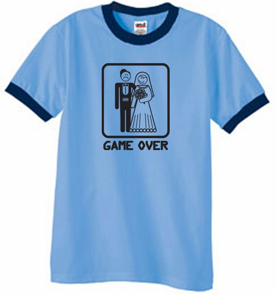 476dcee2 Game Over Ringer T-shirt Funny Marriage Carolina Blue Tee Black ...