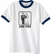 Game Over Ringer T-shirt Funny White/Navy Tee - Black Print