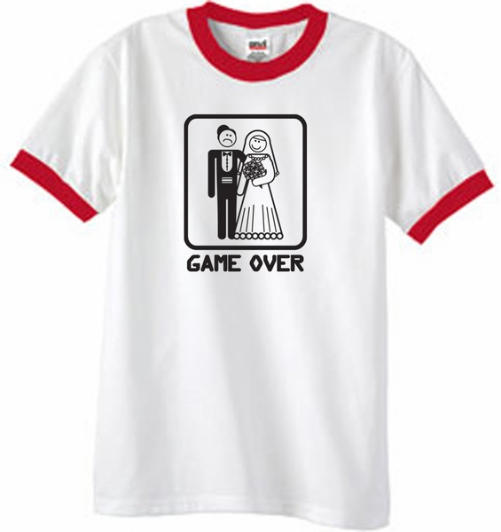 b6c6a23a Game Over Ringer T-shirt Funny White/Red Tee - Black Print - Game ...