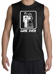 Game Over Shooter Funny Marriage Black Muscle Shirt - White Print
