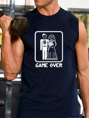 Game Over Shooter Funny Married Groom Muscle Tee