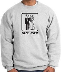 Game Over Sweatshirt Funny Marriage Ash Sweatshirt - Black Print