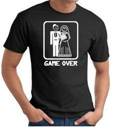 Game Over T-shirt - Funny Marriage Bride Groom Black Tee White Print