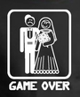 Game Over T-shirt - Funny Marriage Bride Groom Brown Tee White Print