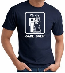 Game Over T-shirt - Funny Marriage Bride Groom Navy Tee White Print