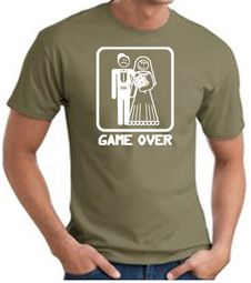 Game Over T-shirt - Funny Marriage Bride Groom Olive Tee White Print
