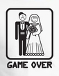 Game Over T-shirt Funny Marriage Bride Groom Orange Tee - Black Print