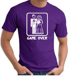 Game Over T-shirt - Funny Marriage Bride Groom Purple Tee White Print
