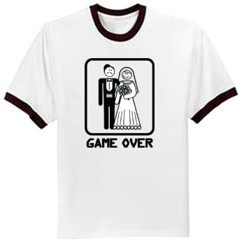 aef73b01 Game Over T-shirt Funny Marriage Bride Groom Ringer Tee Shirt - Game Over  Ringer T-shirts