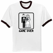 Game Over T-shirt Funny Marriage Bride Groom Ringer Tee Shirt