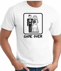 Game Over T-shirt Funny Marriage Bride Groom White Tee - Black Print