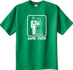 Game Over T-shirt - Funny Marriage Kelly Green Tee - White Print