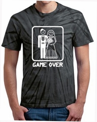 Game Over Tie Dye T-shirt - Funny Marriage Bride and Groom Tee Shirt