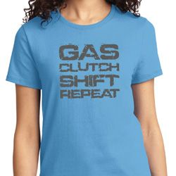 Gas Clutch Shift Repeat Grey Print Ladies Shirts