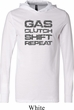 Gas Clutch Shift Repeat Grey Print Lightweight Hoodie Tee