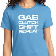 Gas Clutch Shift Repeat White Print Ladies Shirts