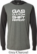 Gas Clutch Shift Repeat White Print Lightweight Hoodie Tee