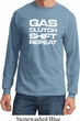 Gas Clutch Shift Repeat White Print Long Sleeve Shirt
