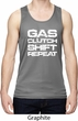 Gas Clutch Shift Repeat White Print Mens Moisture Wicking Tanktop