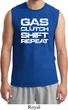 Gas Clutch Shift Repeat White Print Mens Muscle Shirt