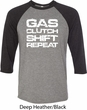 Gas Clutch Shift Repeat White Print Mens Raglan Shirt