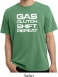 Gas Clutch Shift Repeat White Print Pigment Dyed Shirt