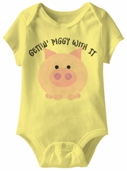 Gettin Piggy With It Funny Baby Romper Yellow Infant Babies Creeper