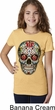 Girls Skull Shirt Sugar Skull with Roses Tee T-Shirt