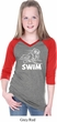 Girls White Penguin Power Swim V-neck Raglan Shirt