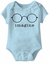 Glasses Funny Baby Romper Light Blue Infant Babies Creeper