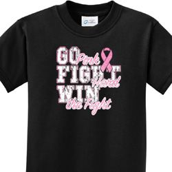 Go Fight Win Kids Breast Cancer Awareness Shirts