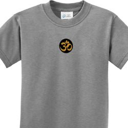 Gold AUM Patch Middle Print Kids Yoga Shirts